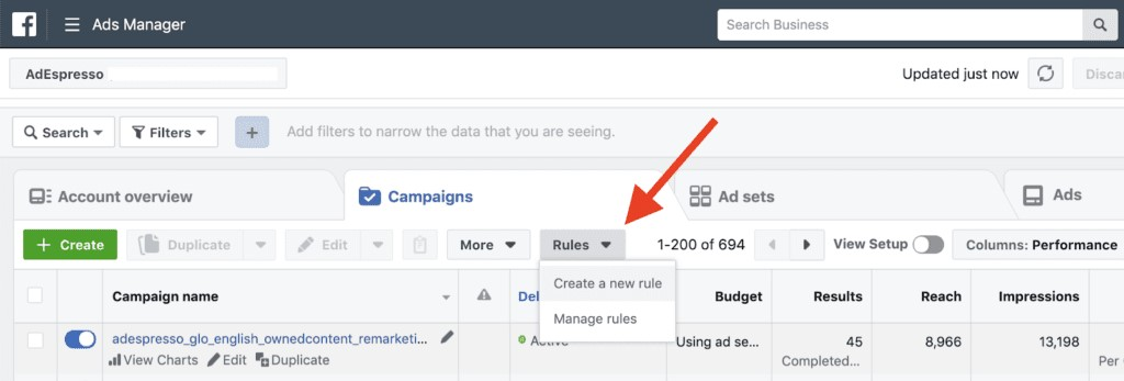 Facebook Ads drive to a high frequency of impressions